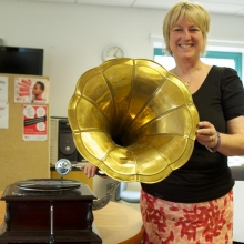 Rose Kreloff shows off an unusual donation - a reproduction phonograph