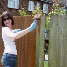 Debbie Moles working in the Whitfield Way garden